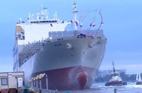 Largest Container Ship Built in San Diego Hits Water
